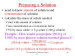 preparing a solution