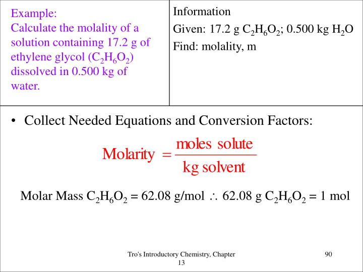 Collect Needed Equations and Conversion Factors: