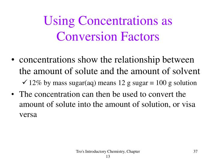 Using Concentrations as
