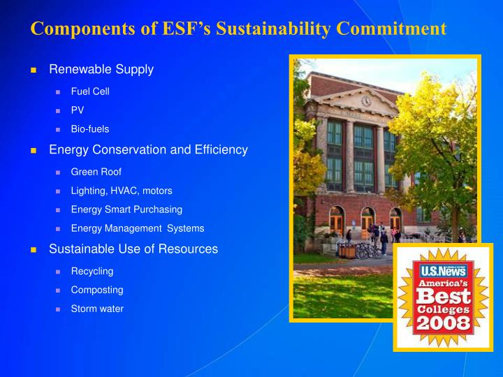 Components of esf s sustainability commitment