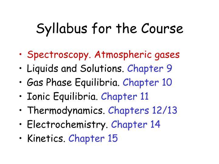 Syllabus for the Course