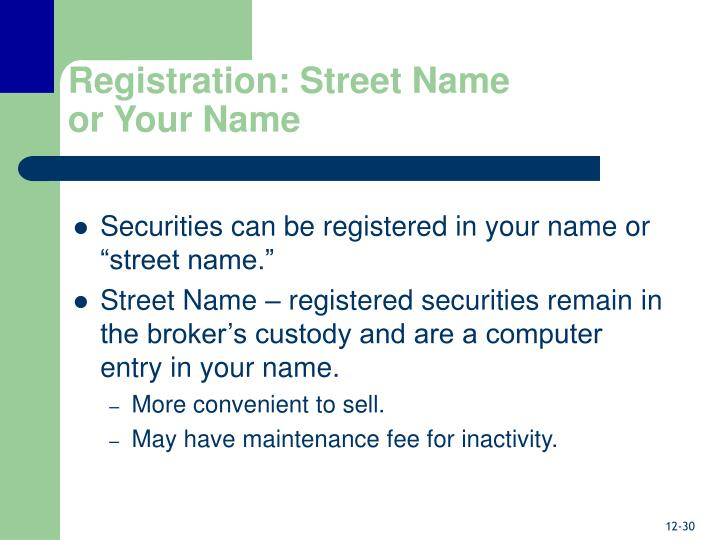 Registration: Street Name