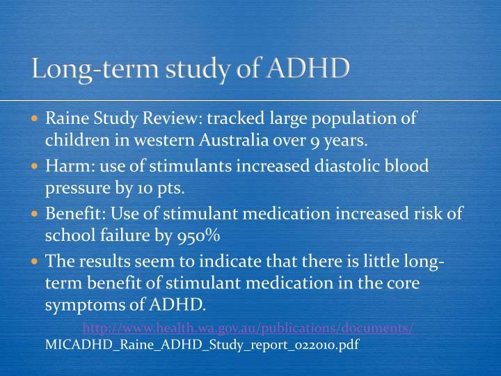 Long-term study of ADHD