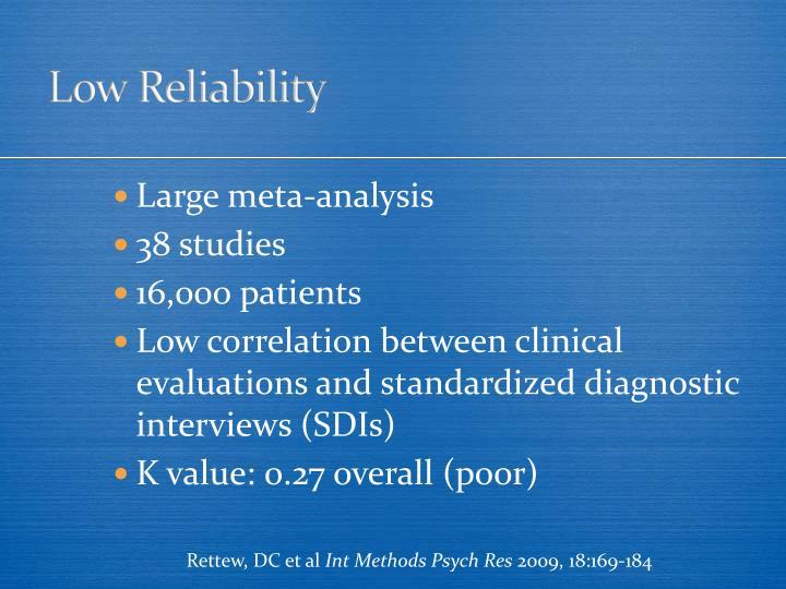 Low Reliability