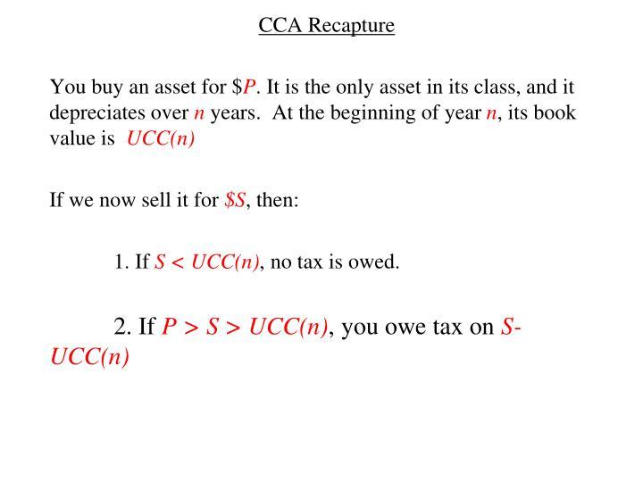 CCA Recapture