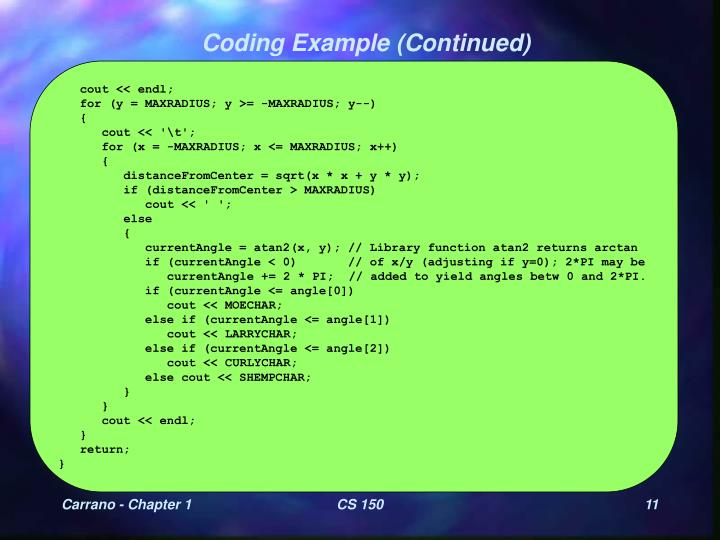 Coding Example (Continued)