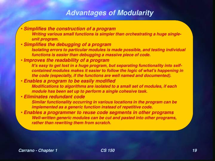 Advantages of Modularity