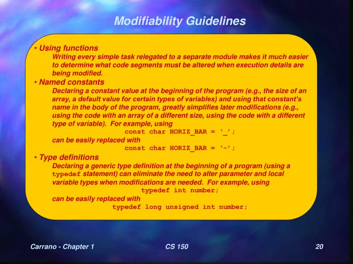 Modifiability Guidelines