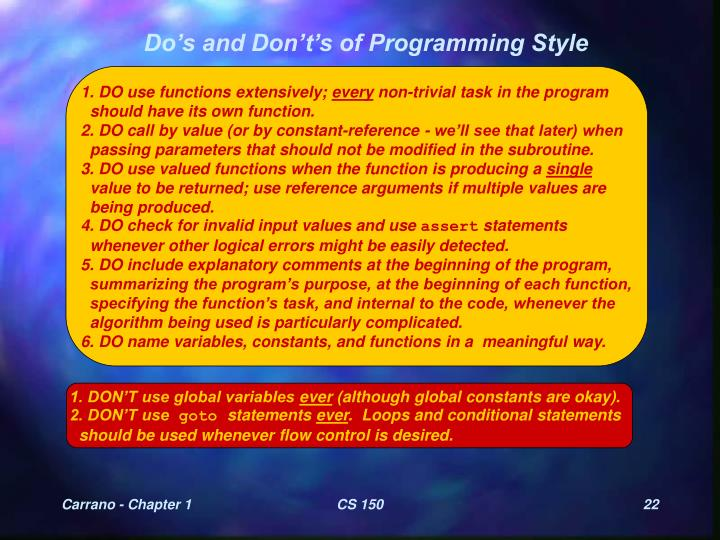 Do's and Don't's of Programming Style