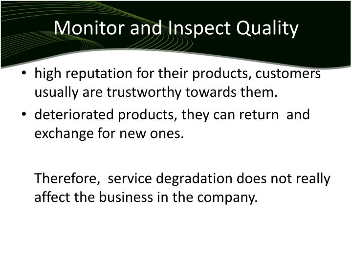 Monitor and Inspect Quality