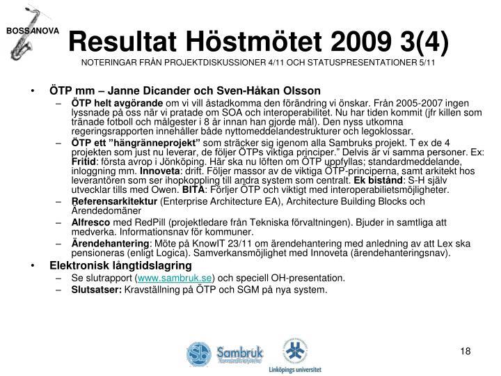 Resultat Höstmötet 2009 3(4)