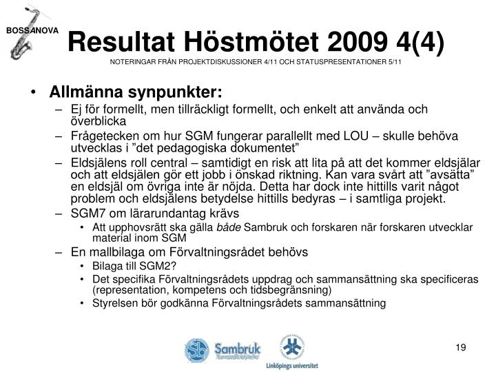 Resultat Höstmötet 2009 4(4)