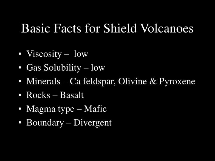 Basic Facts for Shield Volcanoes