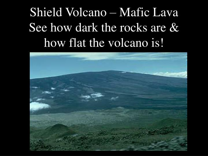 Shield volcano mafic lava see how dark the rocks are how flat the volcano is