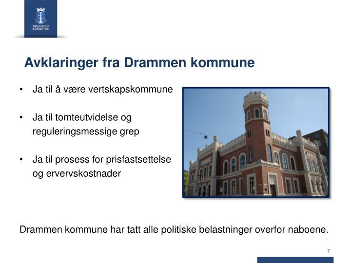 Avklaringer fra Drammen kommune