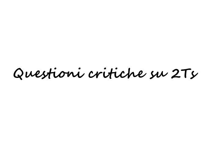 Questioni critiche su 2Ts