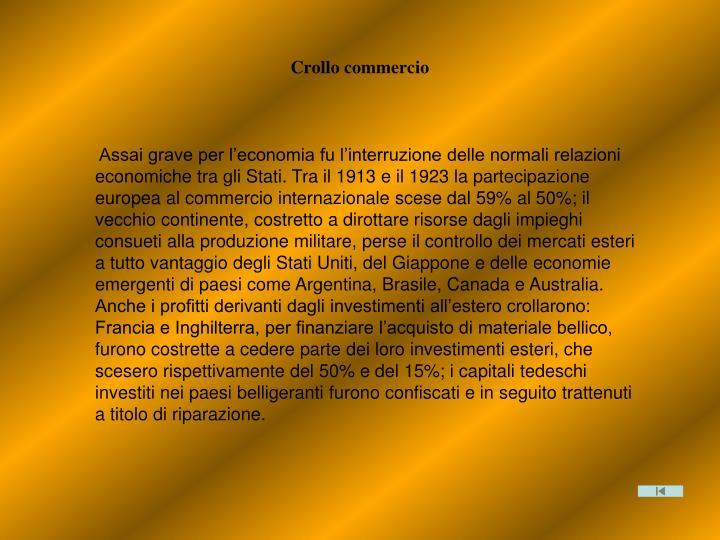 Crollo commercio