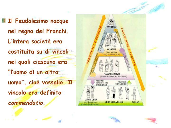 """Il Feudalesimo nacque nel regno dei Franchi. L'intera società era costituita su di vincoli nei quali ciascuno era """"l'uomo di un altro uomo"""", cioè vassallo. Il vincolo era definito"""
