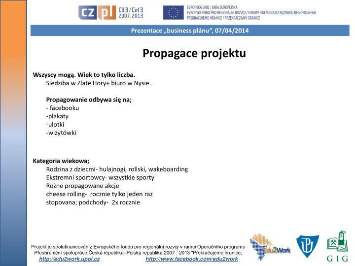 Propagace projektu