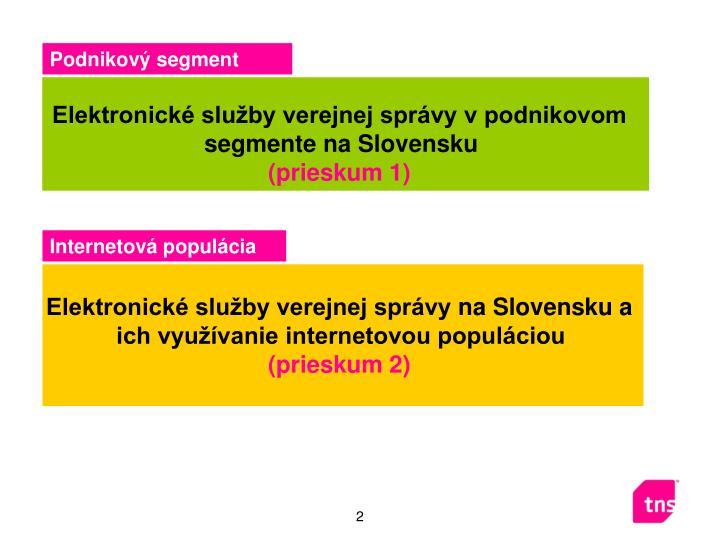 Elektronické služby verejnej správy v podnikovom segmente na Slovensku