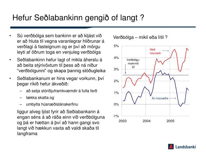Hefur Seðlabankinn gengið of langt ?