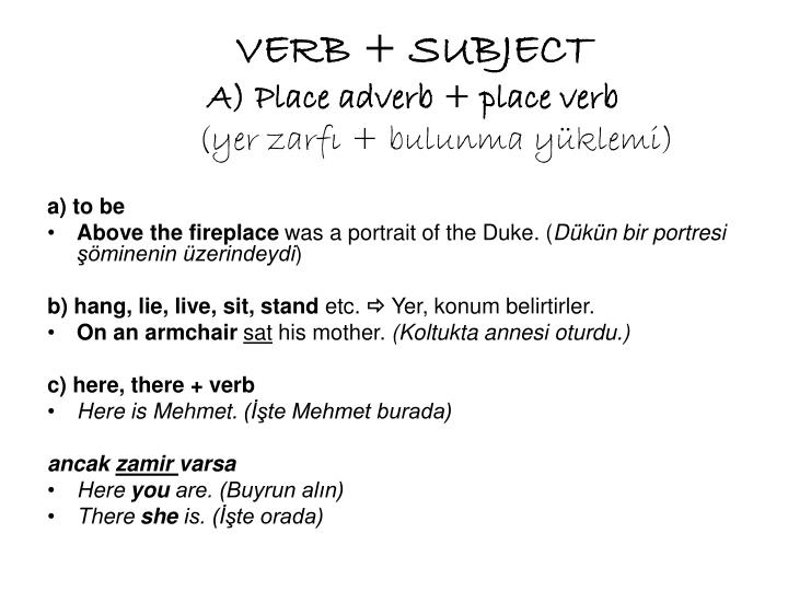 VERB + SUBJECT