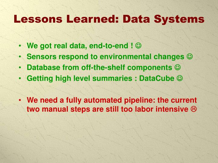Lessons Learned: Data Systems