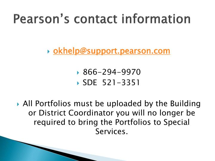 Pearson's contact information
