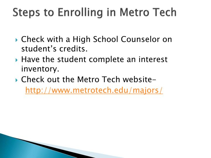 Steps to Enrolling in Metro Tech