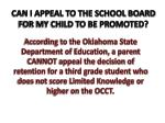 can i appeal to the school board for my child to be promoted