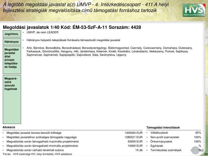 Megoldási javaslatok 1/40 Kód: ÉM-53-SzF-A-11 Sorszám: 4428