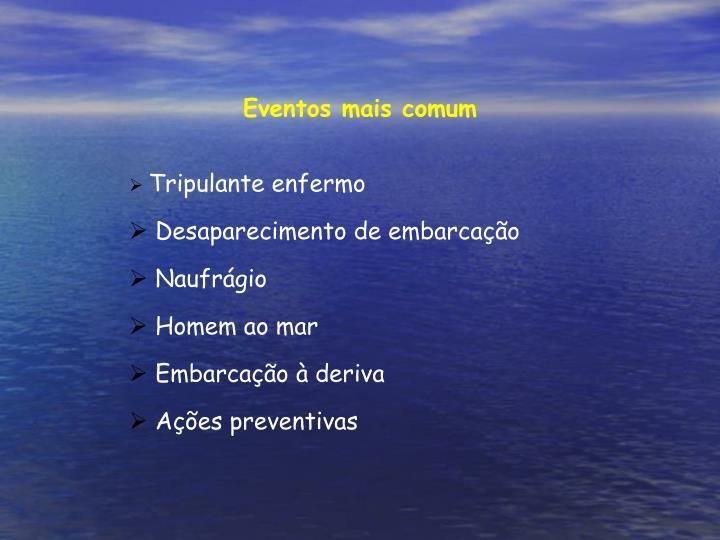 Eventos mais comum