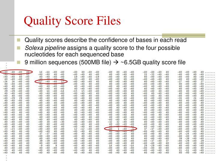 Quality Score Files