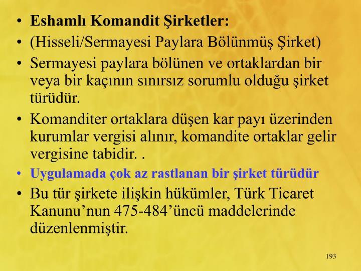 Eshaml Komandit irketler: