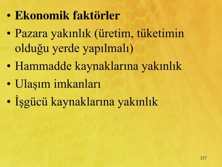 Ekonomik faktrler