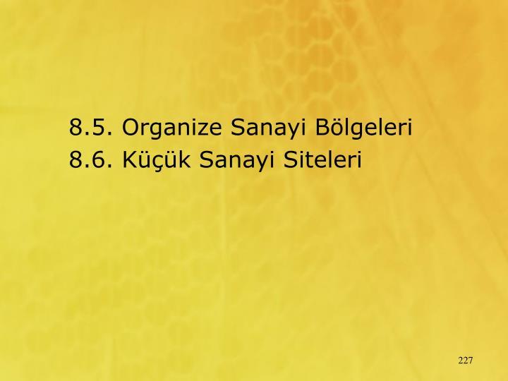 8.5. Organize Sanayi Blgeleri