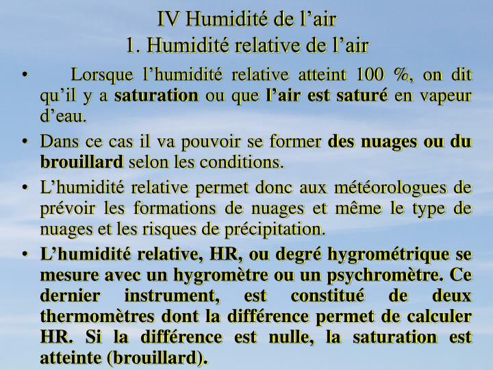 IV Humidité de l'air