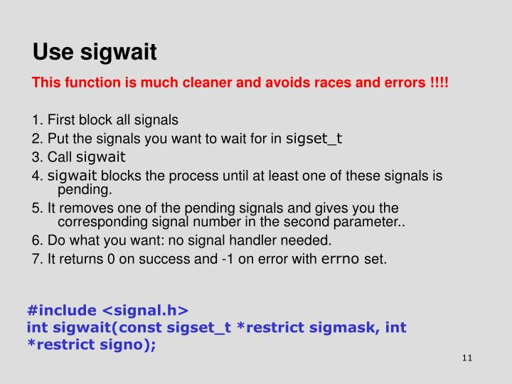 Use sigwait
