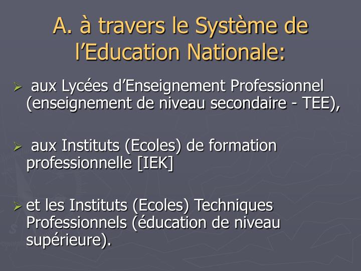 A. à travers le Système de l'Education Nationale: