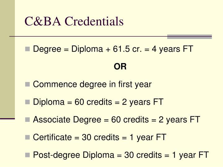 C&BA Credentials