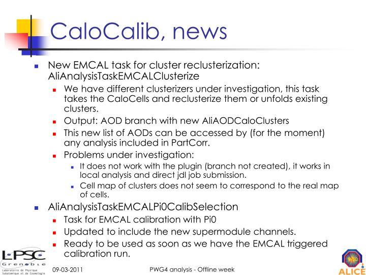 CaloCalib, news