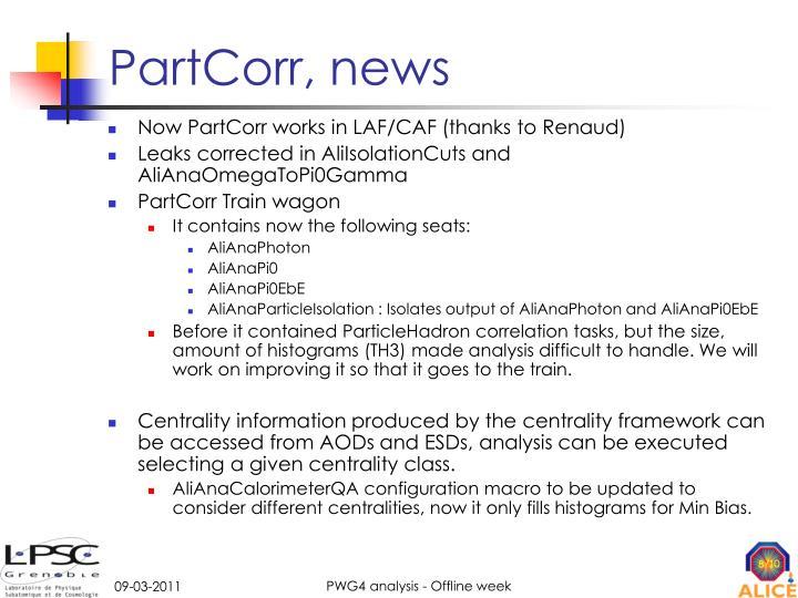 PartCorr, news