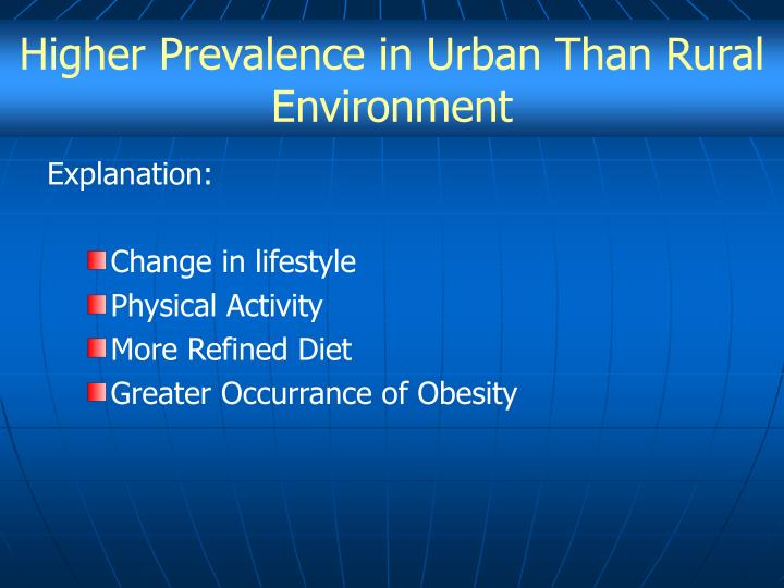 Higher Prevalence in Urban Than Rural Environment