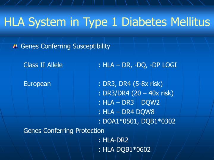 HLA System in Type 1 Diabetes Mellitus