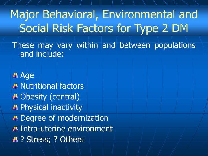 Major Behavioral, Environmental and Social Risk Factors for Type 2 DM