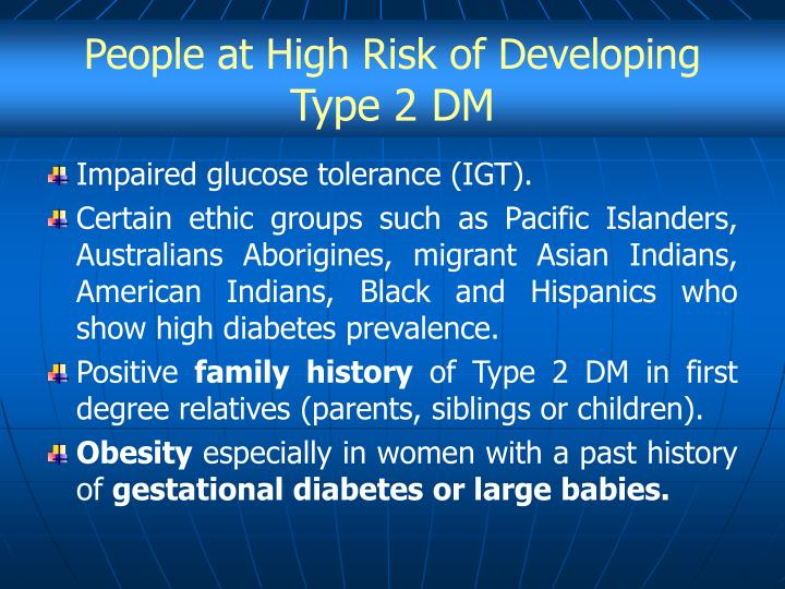 People at High Risk of Developing