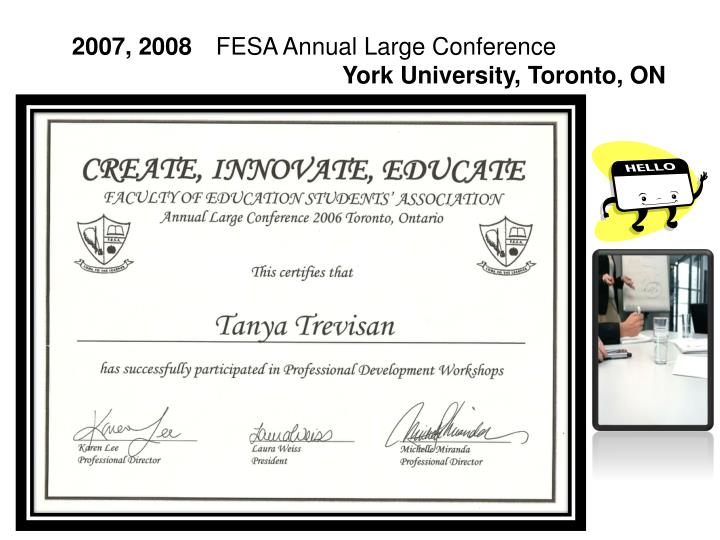 2007 2008 fesa annual large conference york university toronto on