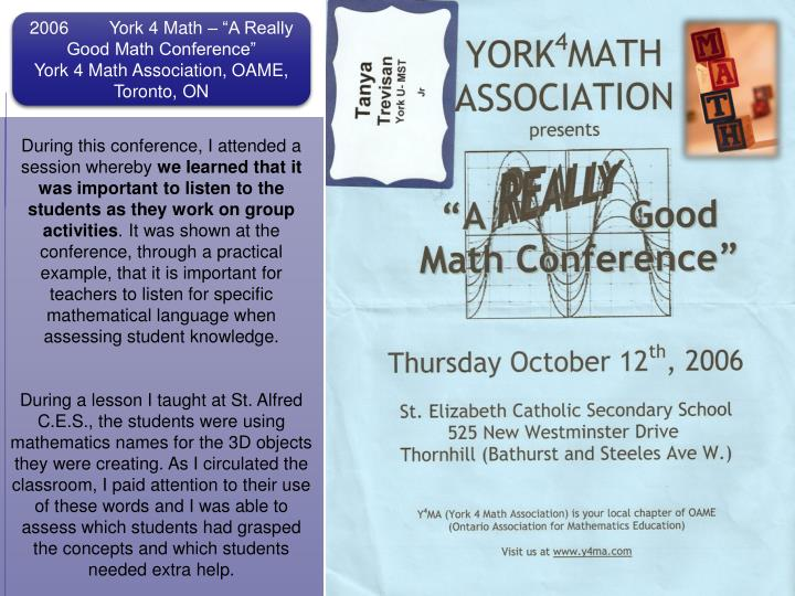 "2006	York 4 Math­ – ""A Really Good Math Conference"""