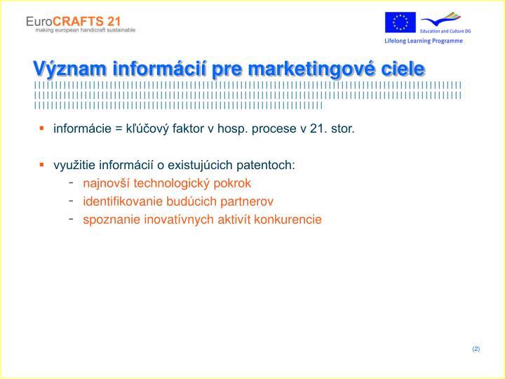 Význam informácií pre marketingové ciele