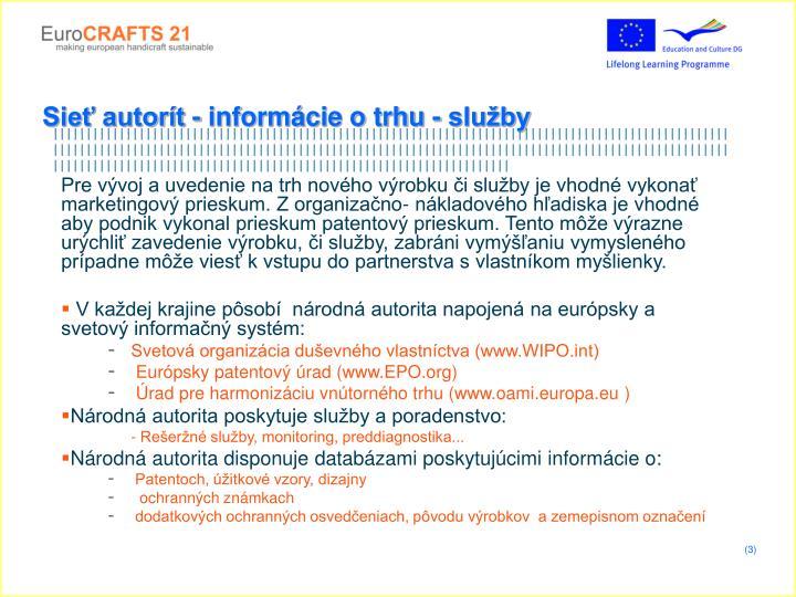 Sieť autorít - informácie o trhu - služby